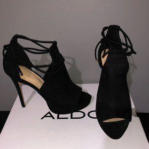 Aldo Black Suede Lace Up high heels